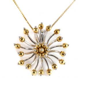 Ciondolo fiore oro bicolore - 6.35 gr