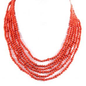 Collana a 6 fili di corallo rosso e argento