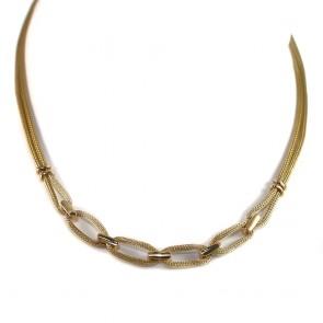 Collana collier catena effetto corda oro -  44 cm; 21.45 gr