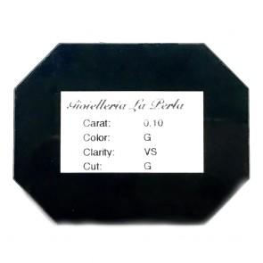 Diamante taglio brillante, 0.10 ct, G, VS,  in Blister La Perla e confezione regalo