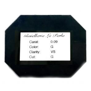 Diamante taglio brillante, 0.09 ct, G, VS,  in Blister La Perla e confezione regalo