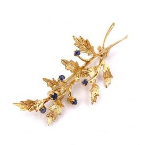 Spilla in stile foglia oro con zaffiri - 0.15-0.18 ct - 3.67 gr