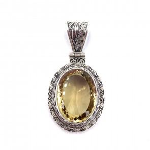Ciondolo maxi in argento con quarzo citrino