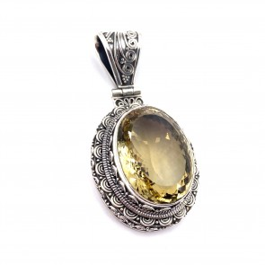 Ciondolo maxi in argento con quarzo citrino; 33.04 gr