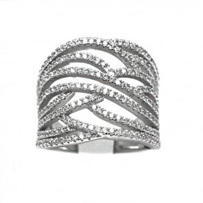 Anello fascia argento e zirconi bianchi