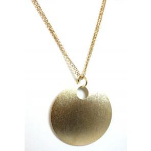 Doppia catena con ciondolo medaglione in argento dorato