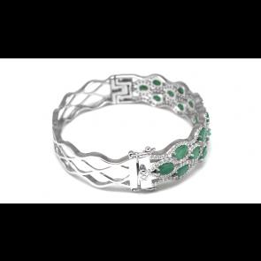 Bracciale rigido argento con smeraldi e zirconi