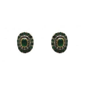 Orecchini oro, smeraldi e diamanti