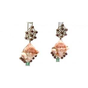 Orecchini artistici oro corallo, rubini e smeraldi