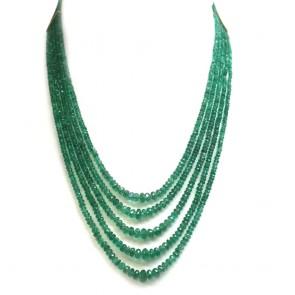 Collana multifilo smeraldo e oro