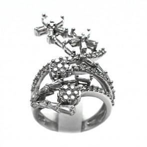 Anello fantasia floreale oro e diamanti