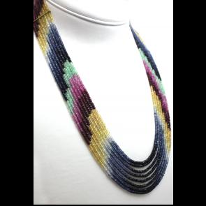 Collana multifilo oro e zaffiri multicolor