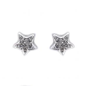 Orecchini  stelle al lobo oro e diamanti