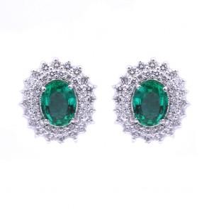 Orecchini a margherita oro, smeraldo -2.05 ct- e diamanti