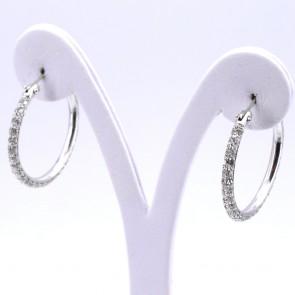 Orecchini anelle, oro e zirconi - 11 gr; 3.1 cm