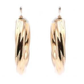 Orecchini anelle oro in stile, ritorte, scanalate