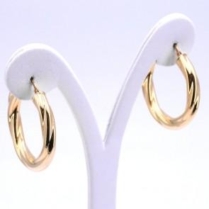 Orecchini anelle oro in stile, ritorte, scanalate - 5.44 gr; 3.4 cm