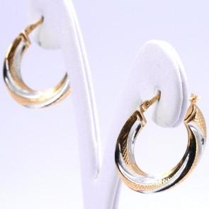 Orecchini anelle oro bicolore in stile, ritorte, scanalate - 1.61 gr; 2.5 cm