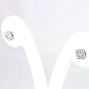 Orecchini punti luce margherite circolari oro e diamanti - 0,43 ct; 1,9 gr
