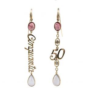 Orecchini pendenti 50, oro, pietre dure e diamanti