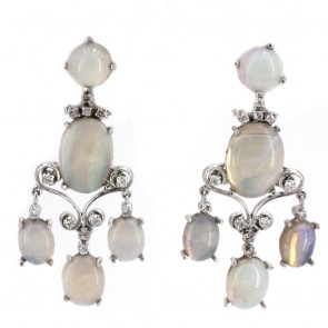 Orecchini pendenti chandelier in stile, oro, opali
