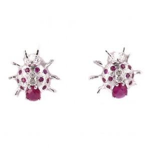 Orecchini al lobo coccinella, oro, rubini - 1.60 ct- e diamanti