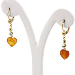 Orecchini pendenti oro, cuori ambra e diamanti - 0.03 ct - 3.85 gr; 4 x 1 cm