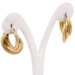 Orecchini anelle triple oro - 7.5 gr; 2.8 cm