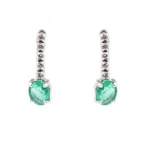Orecchini mini fiammiferi oro, smeraldo -0.80 ct- e diamanti