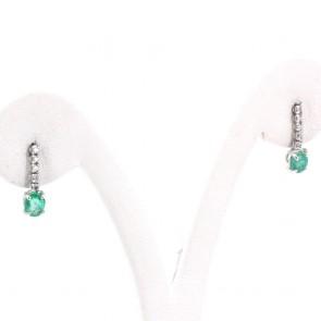 Orecchini mini fiammiferi oro, smeraldo -0.80 ct- e diamanti -0.11 ct- 1.4 cm x 0.4 cm; 1.45 gr