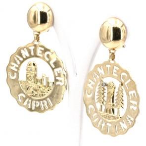 Orecchini Chantecler Logo, Capri-Cortina oro - 35.33 gr. 7 cm x 4.7 cm