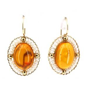 Orecchini pendenti oro, ovali ambra e microperle