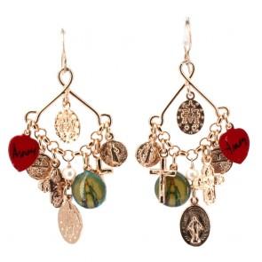 Orecchini pendenti charms anti iella, argento