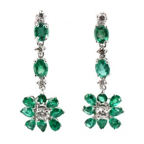 Orecchini pendenti oro, fiori smeraldo e diamanti