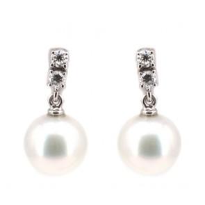 Orecchini pendenti corti oro, perle australiane e diamanti