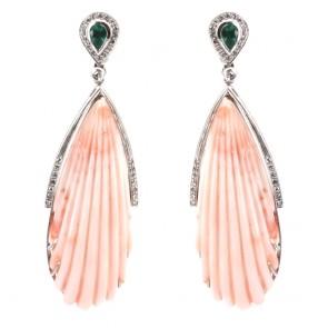 Orecchini pendenti oro, maxi gocce corallo rosa
