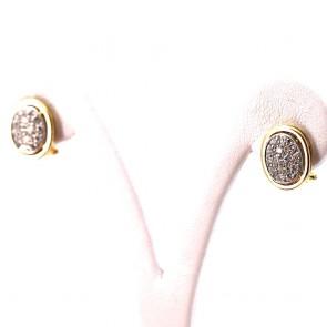Orecchini toppe ovali oro bicolore e diamanti - 0.50-0.60 ct; 5.7 gr.