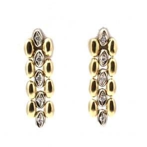 Orecchini pendenti spolette oro bicolore e diamanti