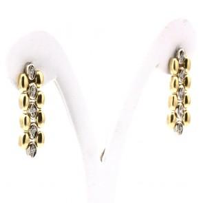 Orecchini pendenti spolette oro bicolore e diamanti - 0.15-0.18 ct - 3 cm; 8.35 gr.