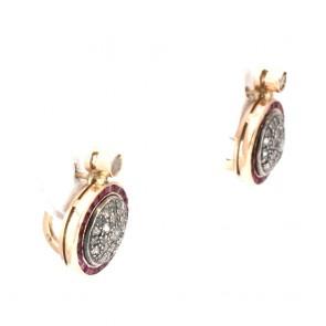Orecchini toppa in stile, oro con rubini - 1.00-1.10 ct - e diamanti - 0.70-0.75 ct; 10.97 gr