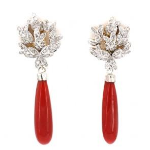 Orecchini pendenti oro, maxi gocce corallo rosa e diamanti