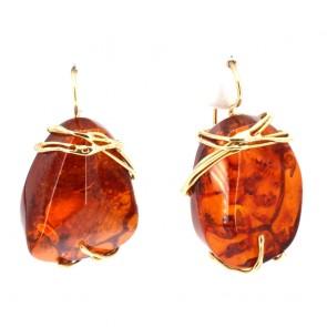 Orecchini pendenti oro e sassi ambra