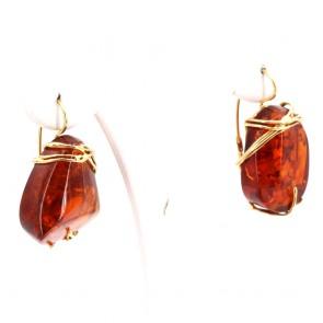 Orecchini pendenti oro e sassi ambra - 14.77 gr; 3.7 x 2.2 cm