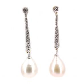 Orecchini fiammiferi oro, perle giapponesi