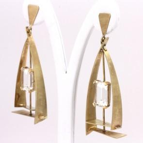 Orecchini pendenti geometrici oro e cristallo di rocca - 7 cm; 22.7 gr.