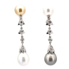 Orecchini fiammiferi oro, perle australiane e tahitiane