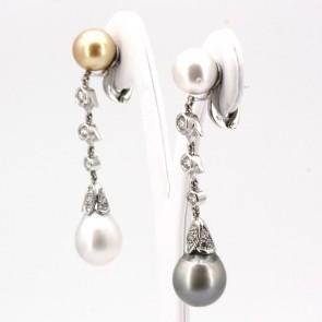 Orecchini fiammiferi oro, perle australiane e tahitiane - 11- 13.5 mm- e diamanti -0.80-0.90 ct- 6 cm; 22.58 gr