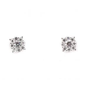 Orecchini punti luce margherite circolari oro e diamanti