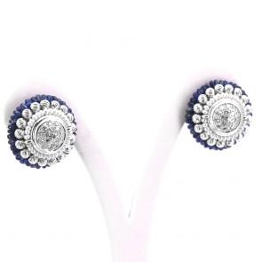 Orecchini Zancan toppe circolari al lobo oro, diamanti - 0.85-0.90 ct totali-, zaffiri - 3-3.5 ct - e microperle. 15.55 gr