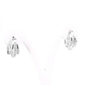 Orecchini anelle mezzelune triple in oro e diamanti -0.25-0.30 ct; 8.55 gr